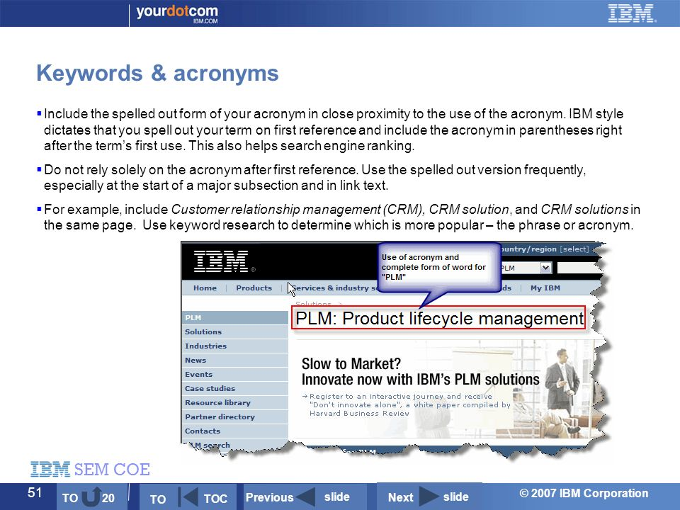 © 2007 IBM Corporation SEM COE 51  Include the spelled out form of your acronym in close proximity to the use of the acronym.