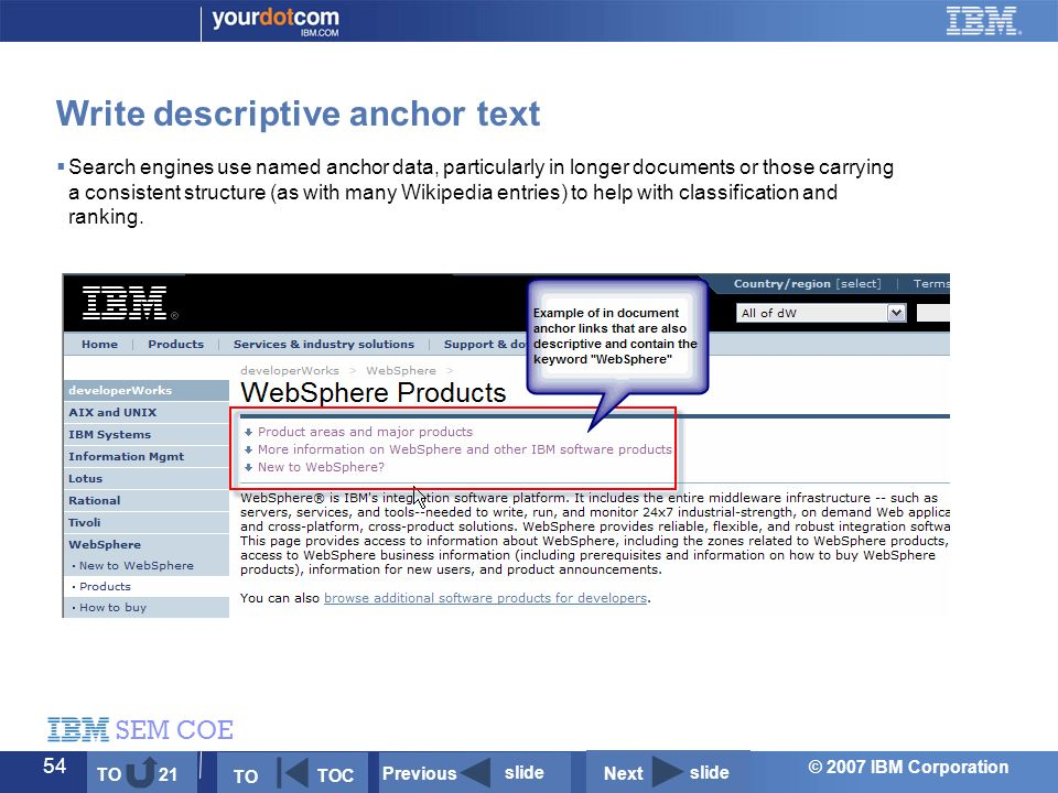 © 2007 IBM Corporation SEM COE 54  Search engines use named anchor data, particularly in longer documents or those carrying a consistent structure (as with many Wikipedia entries) to help with classification and ranking.