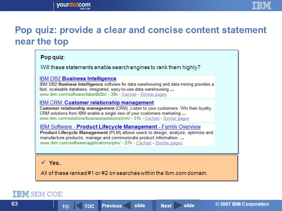 © 2007 IBM Corporation SEM COE 63 Pop quiz: Will these statements enable search engines to rank them highly.