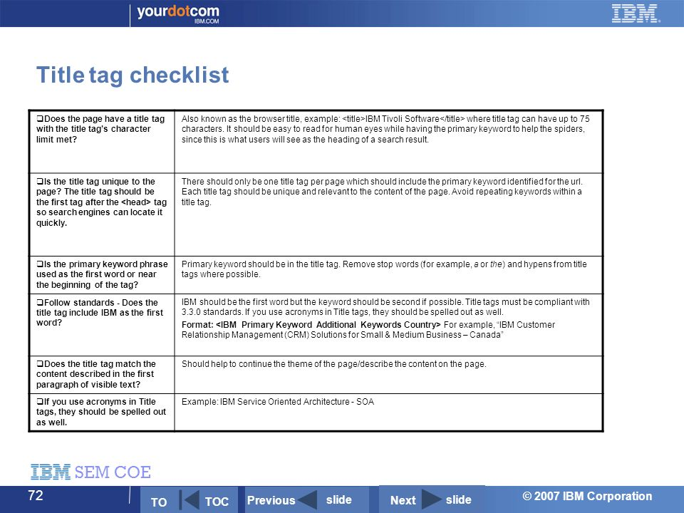 © 2007 IBM Corporation SEM COE 72 Title tag checklist  Does the page have a title tag with the title tag's character limit met.
