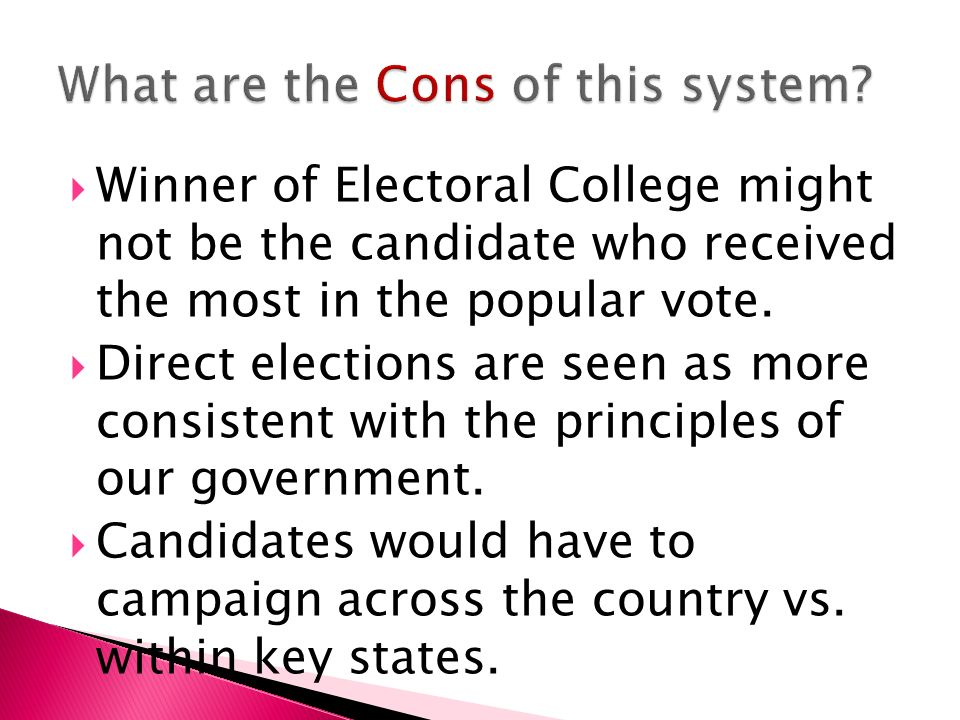  Winner of Electoral College might not be the candidate who received the most in the popular vote.