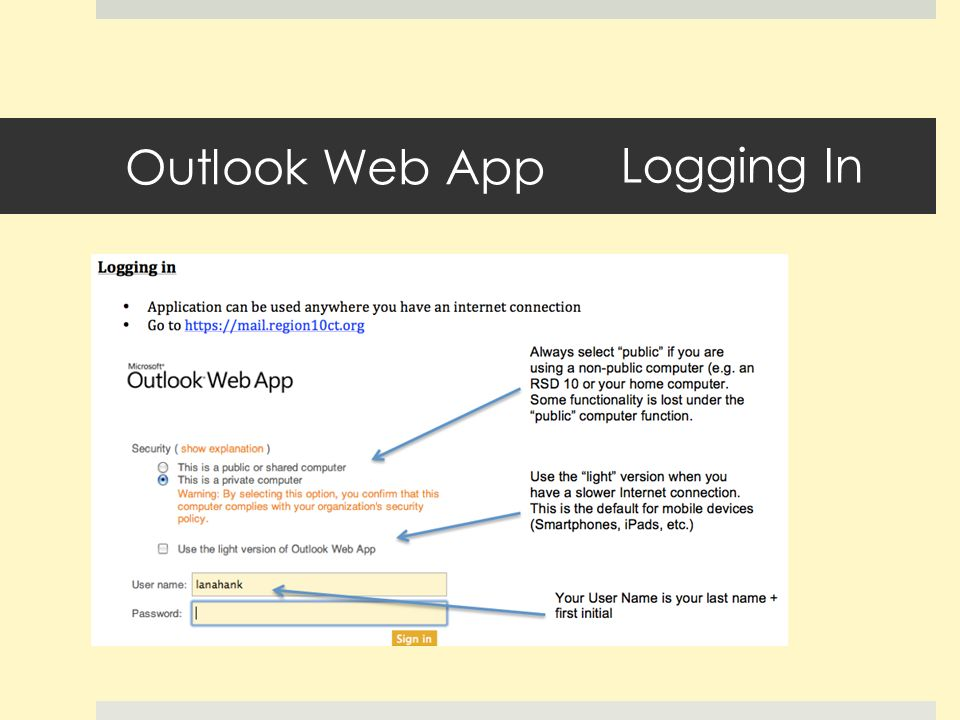 Outlook Web App Logging In