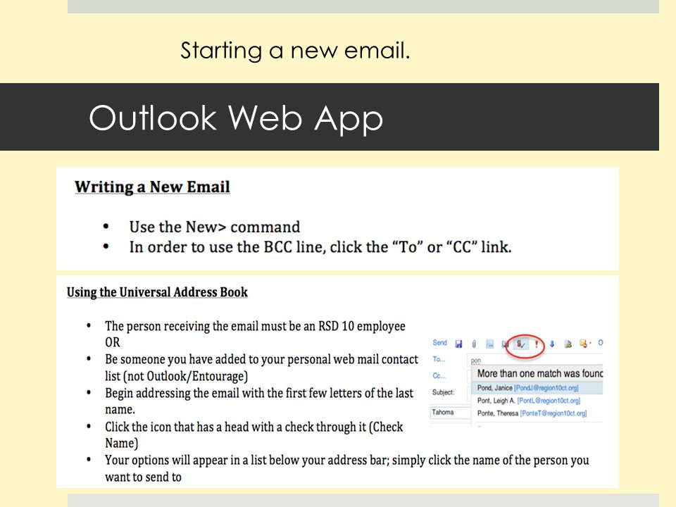 Outlook Web App Starting a new  .