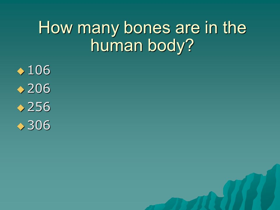 review for quiz # to how many bones are in the human body?  106, Human Body