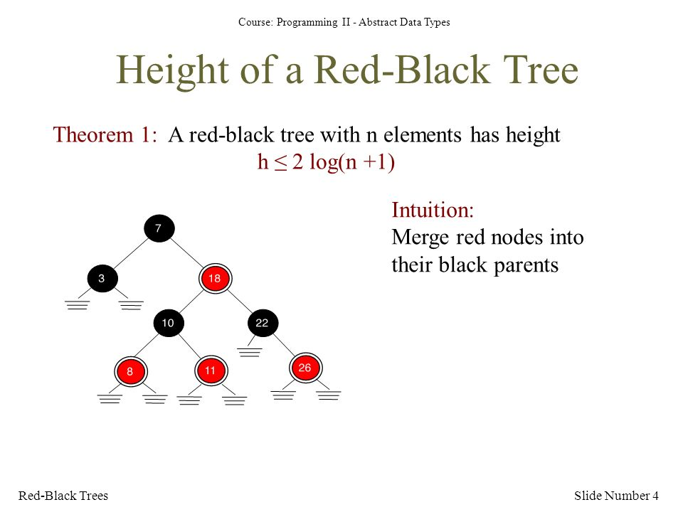 Course: Programming II - Abstract Data Types Height of a Red-Black Tree Slide Number 4Red-Black Trees Theorem 1: A red-black tree with n elements has height h ≤ 2 log(n +1) Intuition: Merge red nodes into their black parents