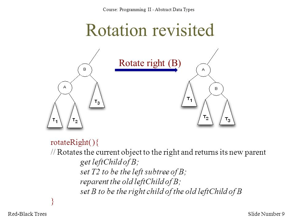 Course: Programming II - Abstract Data Types Rotation revisited Slide Number 9Red-Black Trees Rotate right (B) rotateRight( ){ // Rotates the current object to the right and returns its new parent get leftChild of B; set T2 to be the left subtree of B; reparent the old leftChild of B; set B to be the right child of the old leftChild of B }