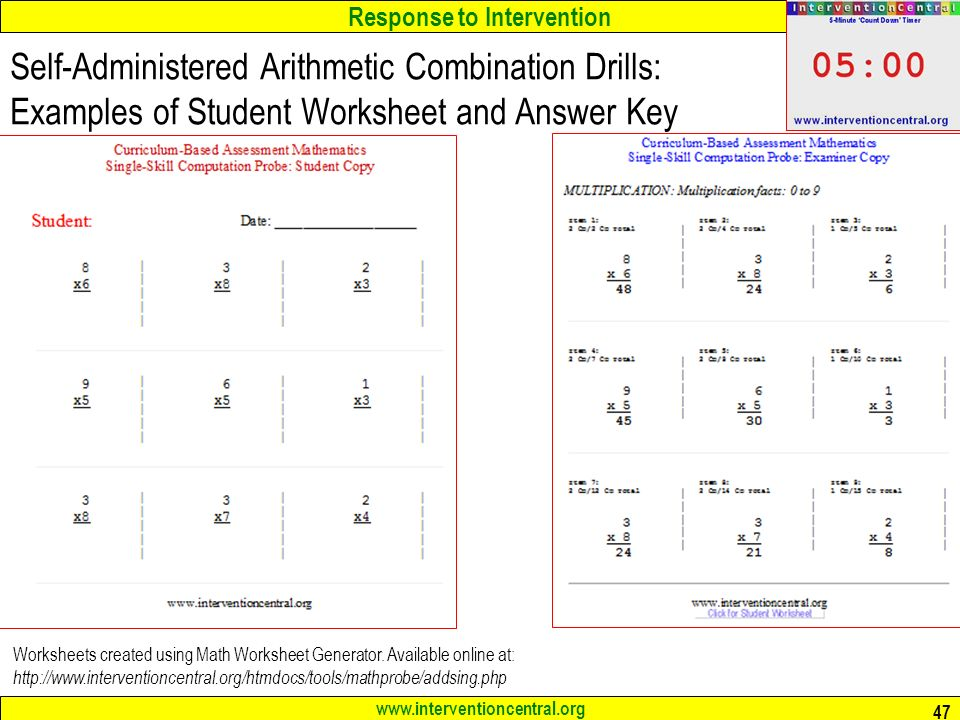 math worksheet : response to intervention rti the classroom teacher as  : Intervention Central Math Worksheet Generator