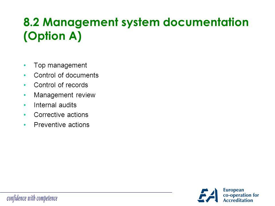 8.2 Management system documentation (Option A) Top management Control of documents Control of records Management review Internal audits Corrective actions Preventive actions