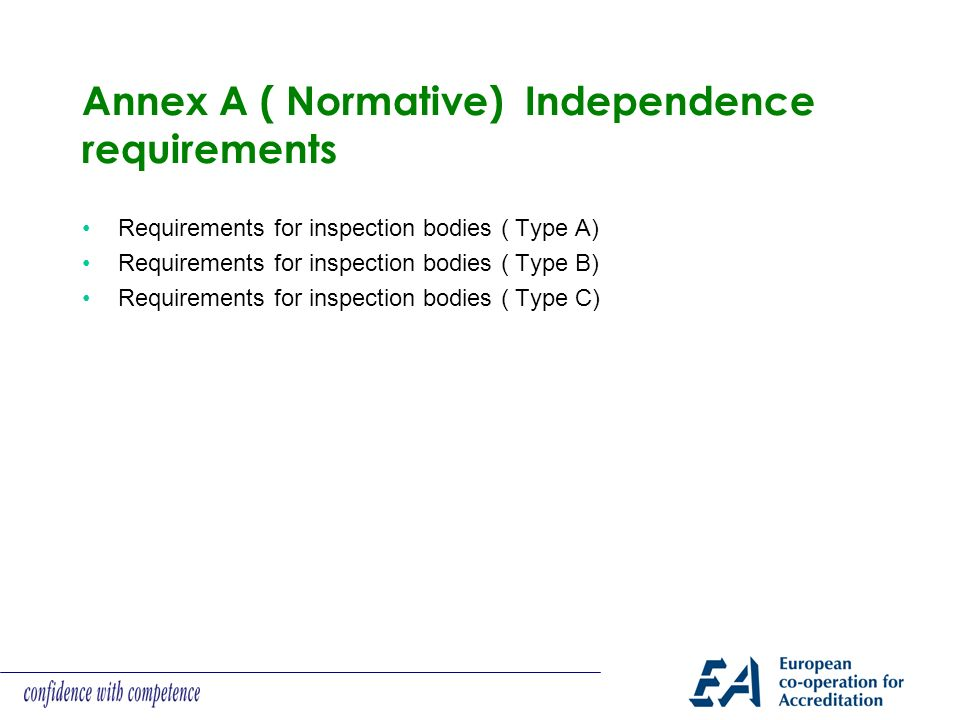 Annex A ( Normative) Independence requirements Requirements for inspection bodies ( Type A) Requirements for inspection bodies ( Type B) Requirements for inspection bodies ( Type C)