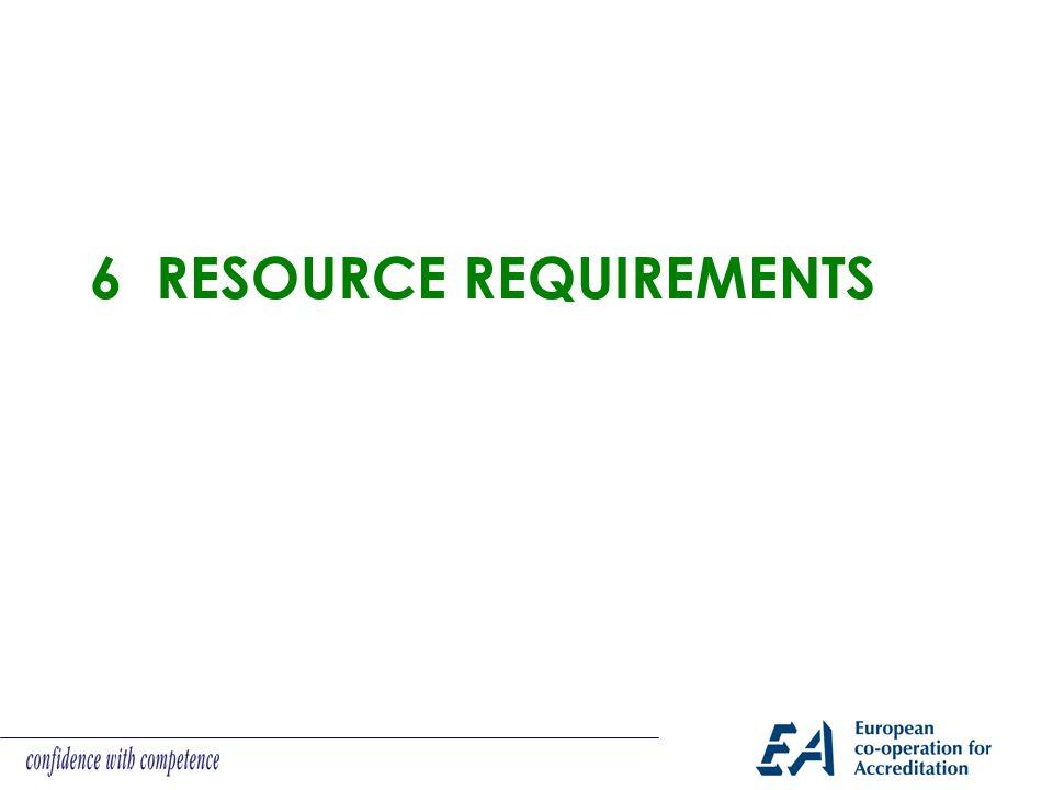 6 RESOURCE REQUIREMENTS