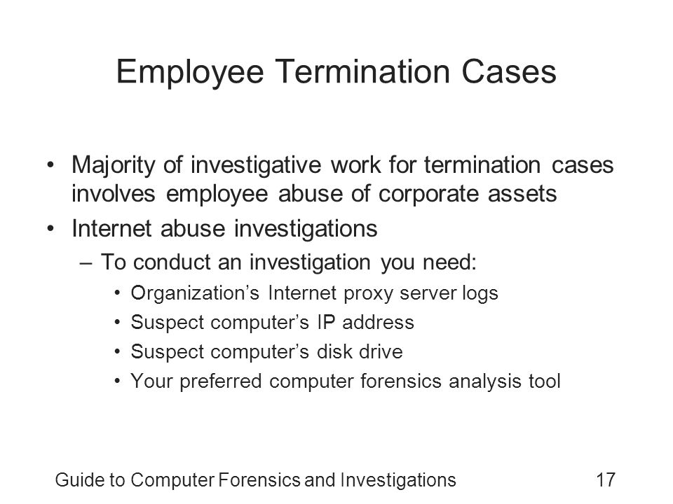 an employee is suspected of operating his llama businessguide to computer forensics and investigatio A fraud investigation may require, amongst other things: analysis of accounting and other records interviews with employees and third parties intelligence gathering on suspects, which may include employees, contractors, customers, suppliers and other third parties outside the company telecommunications, electronic and physical.