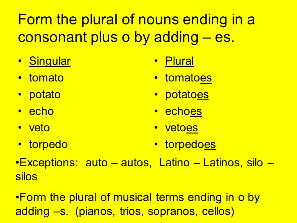 Plurals. When a noun names one person, place, thing or idea the ...
