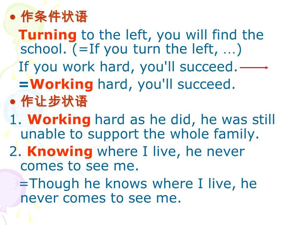 作条件状语 Turning to the left, you will find the school.