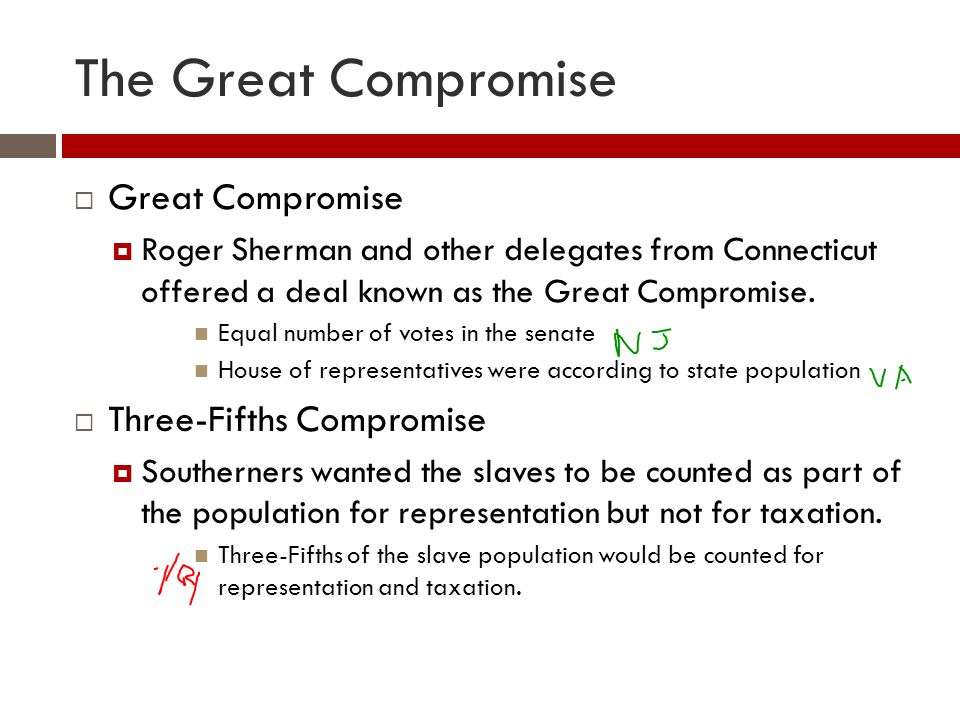 The Great Compromise  Great Compromise  Roger Sherman and other delegates from Connecticut offered a deal known as the Great Compromise.