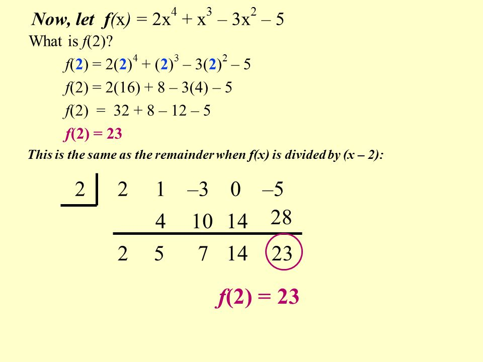 2 2 1 –3 0 –5 f(2) = Now, let f(x) = 2x 4 + x 3 – 3x 2 – What is f(2).