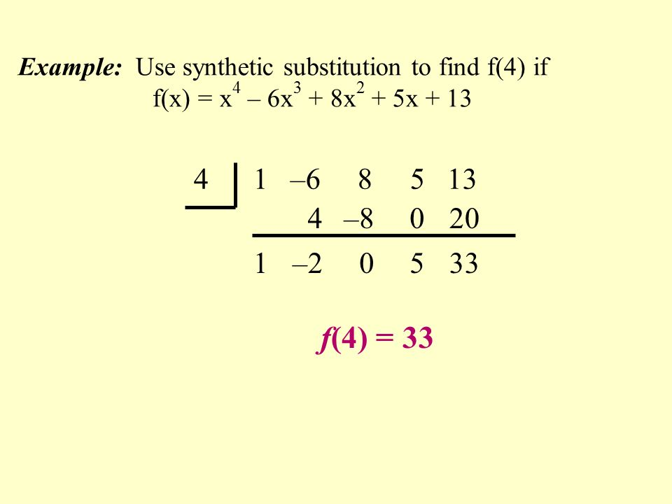4 1 – f(4) = –2 – Example: Use synthetic substitution to find f(4) if f(x) = x 4 – 6x 3 + 8x 2 + 5x