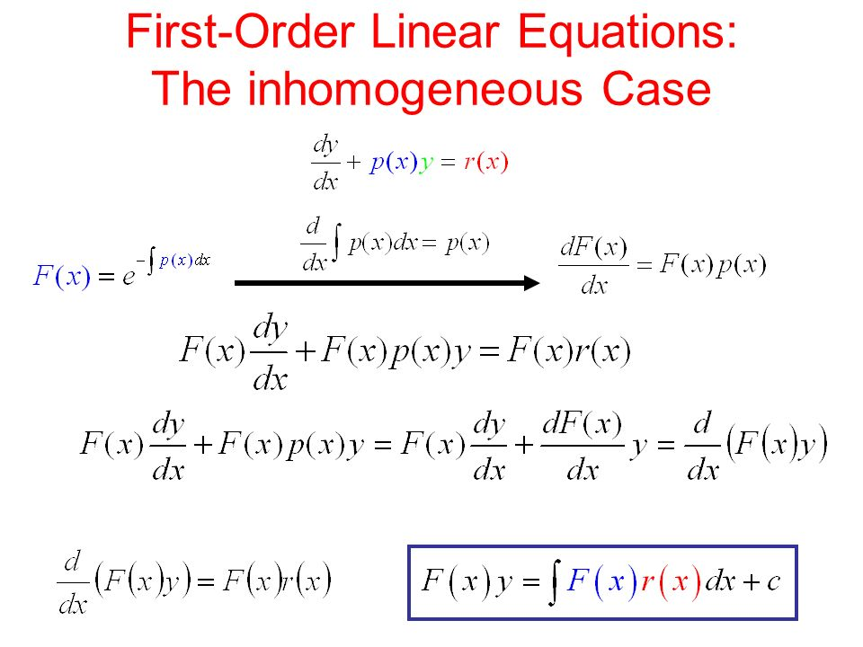 First-Order Linear Equations: The inhomogeneous Case