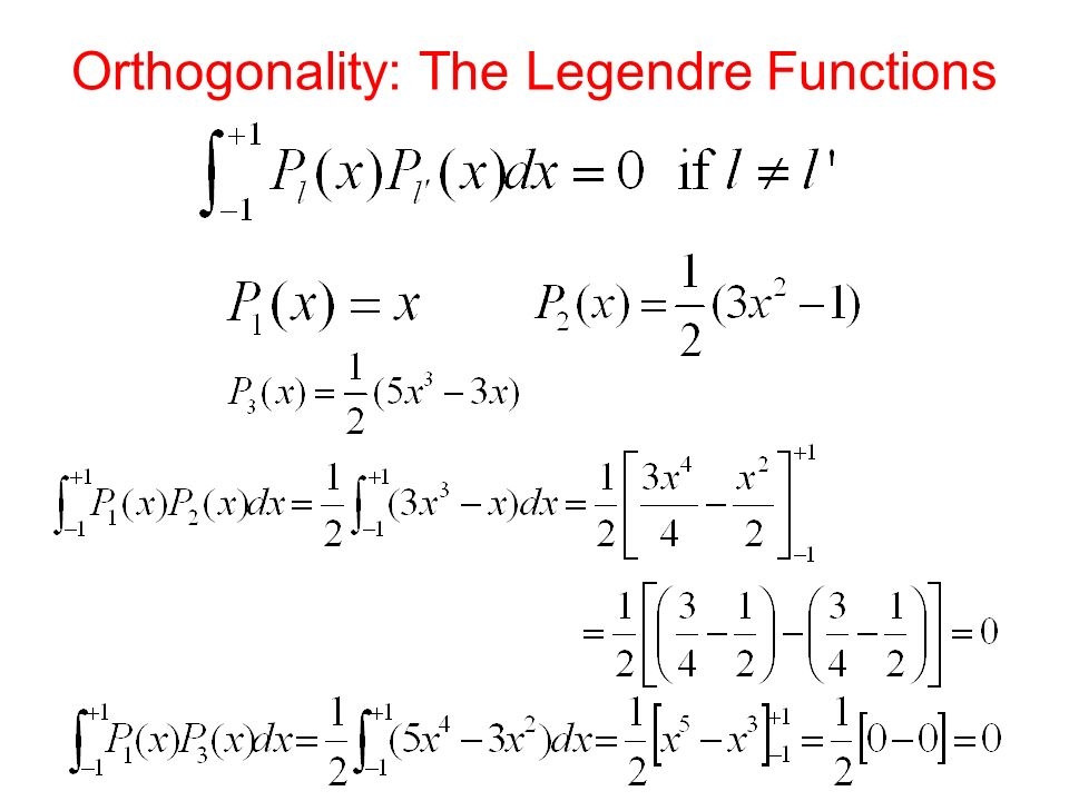 Orthogonality: The Legendre Functions
