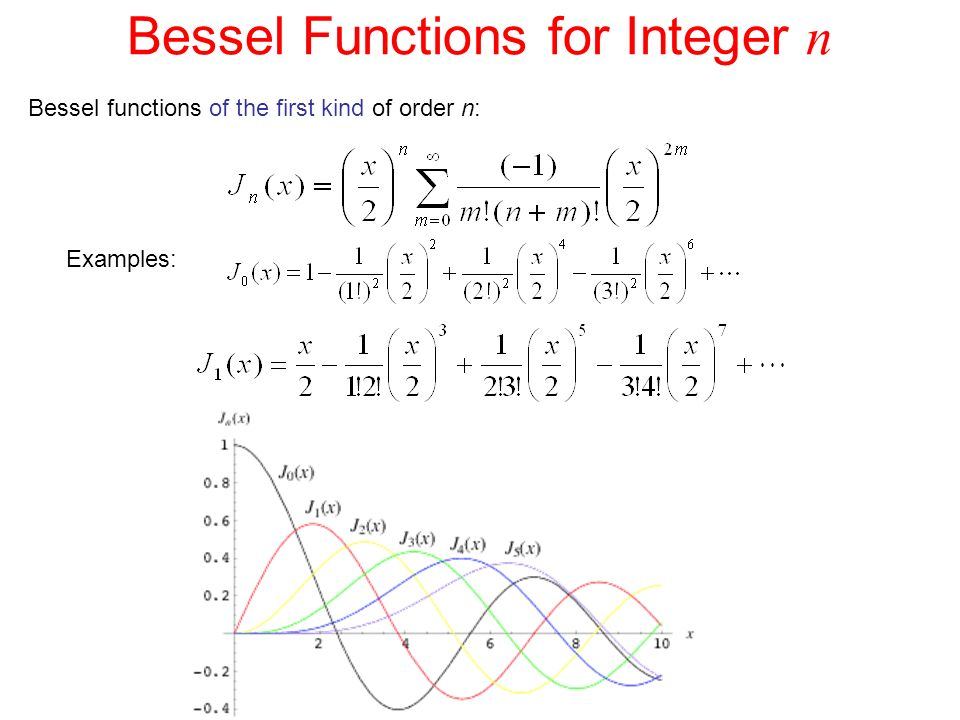 Bessel Functions for Integer n Bessel functions of the first kind of order n: Examples: