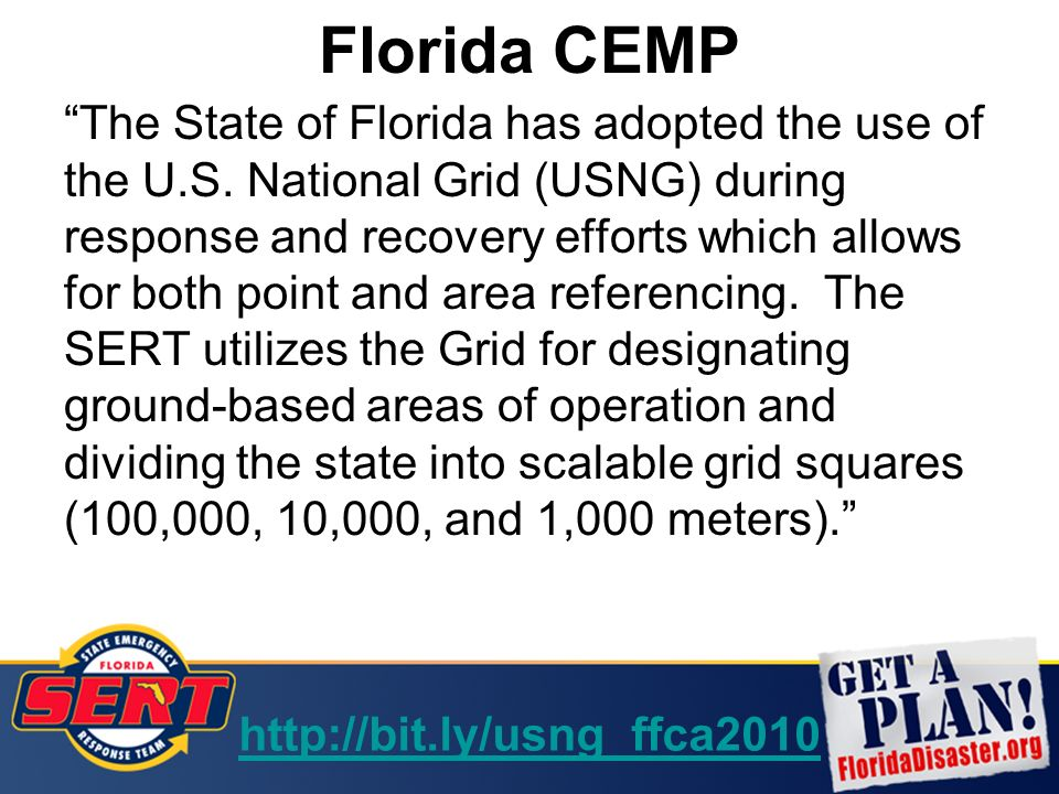 US National Grid And The Florida State Emergency Response Team - Us national grid index map
