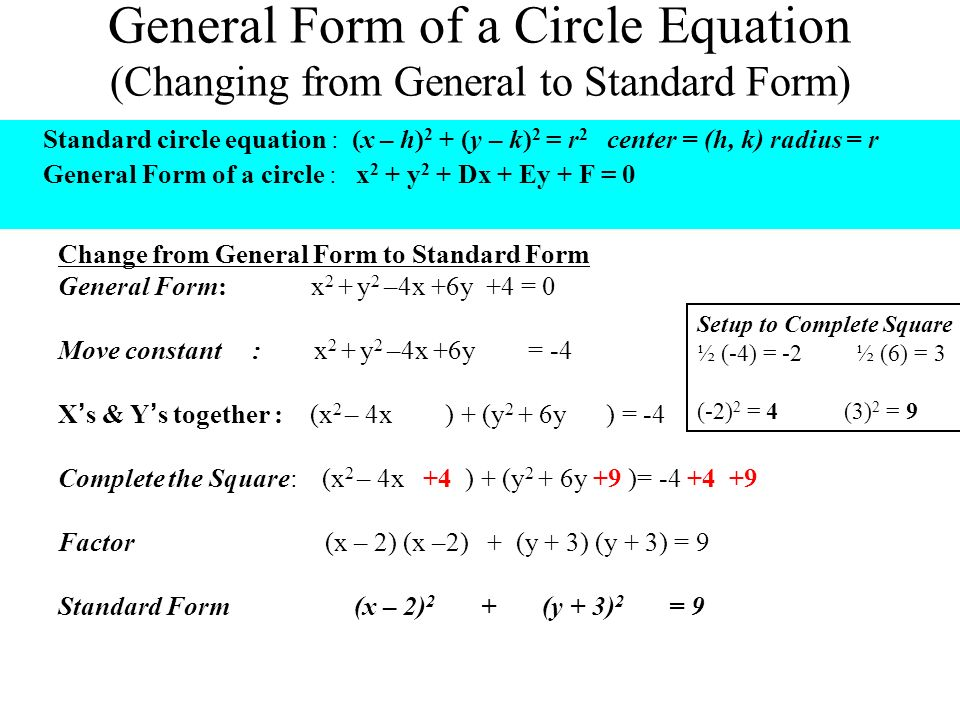 Convert Equation Of A Circle In Standard Form - Jennarocca