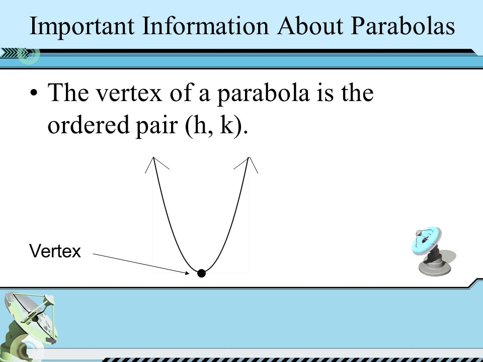 Important Information About Parabolas The vertex of a parabola is the ordered pair (h, k). Vertex