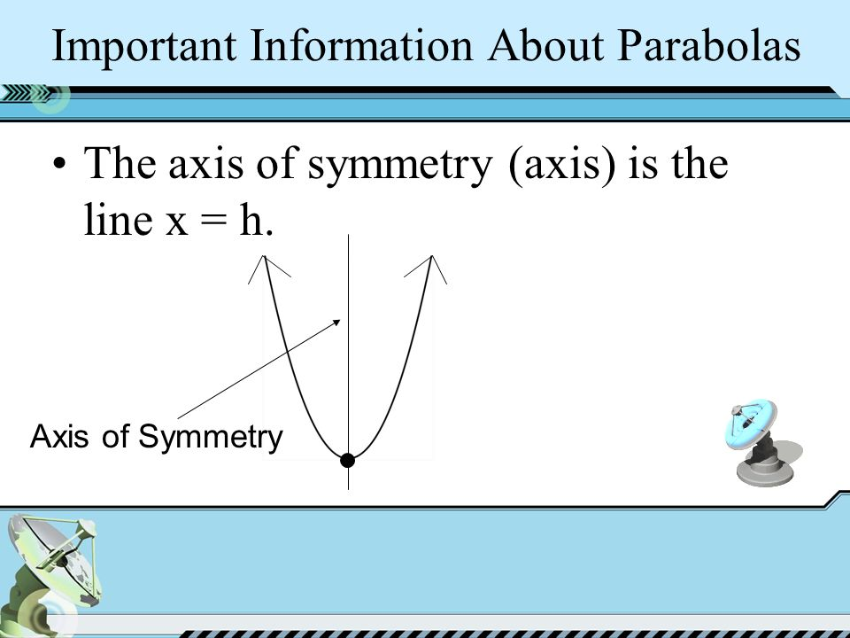 Important Information About Parabolas The axis of symmetry (axis) is the line x = h.