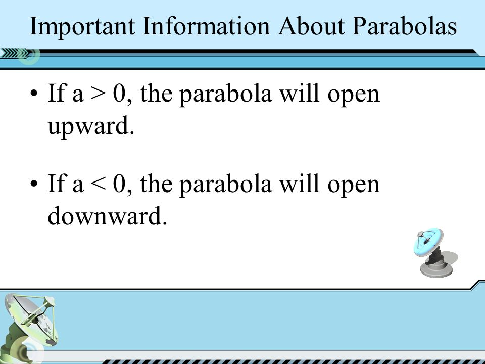 Important Information About Parabolas If a > 0, the parabola will open upward.