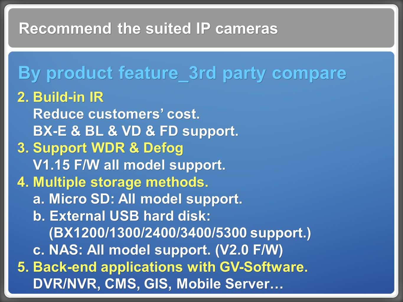 Recommend the suited IP cameras By product feature_3rd party compare 2.