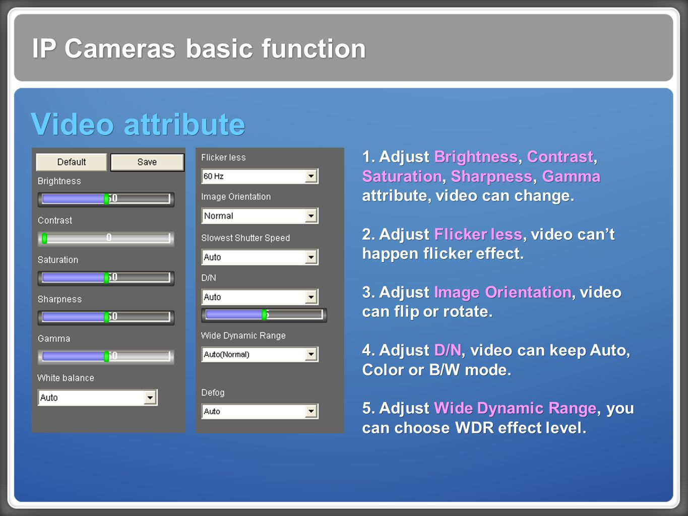 IP Cameras basic function Video attribute 1.