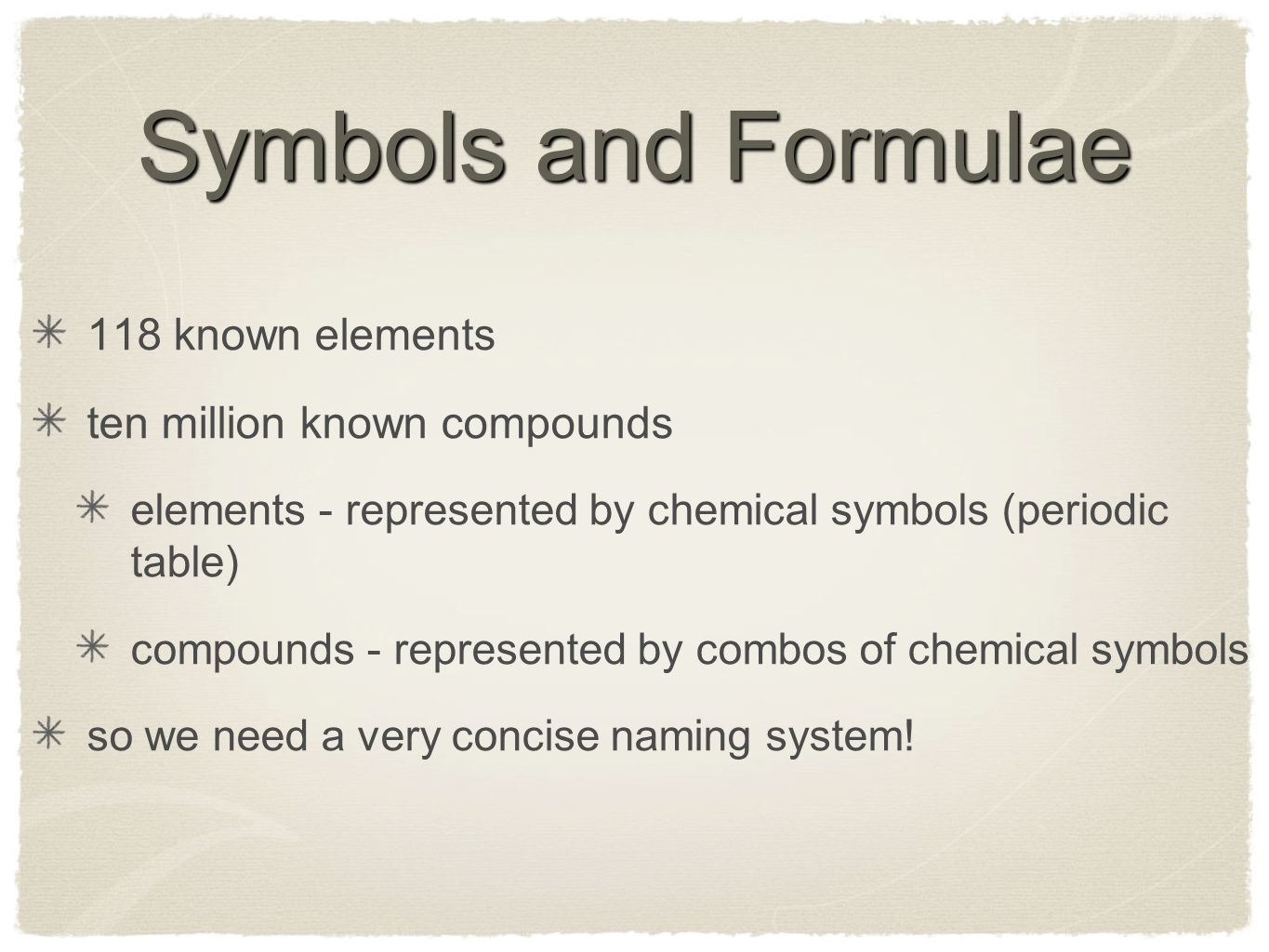 Chemical formulae symbols naming writing formulae ppt download 2 symbols and formulae 118 known elements ten million known compounds elements represented by chemical symbols periodic table compounds represented by buycottarizona Choice Image