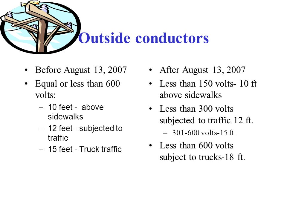 Outside conductors Before August 13, 2007 Equal or less than 600 volts: –10 feet - above sidewalks –12 feet - subjected to traffic –15 feet - Truck traffic After August 13, 2007 Less than 150 volts- 10 ft above sidewalks Less than 300 volts subjected to traffic 12 ft.