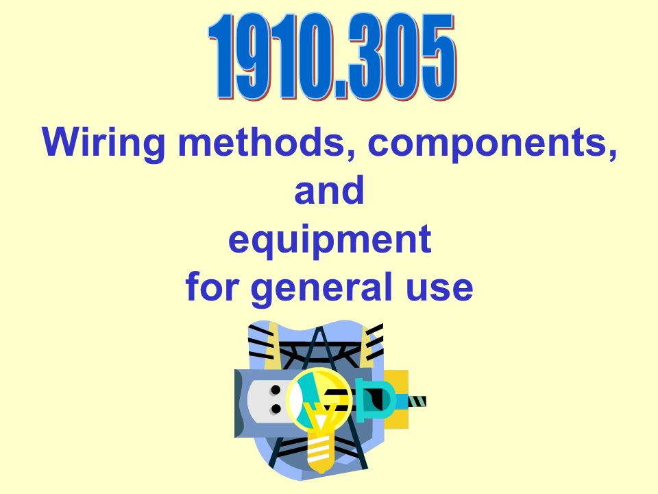 Wiring methods, components, and equipment for general use