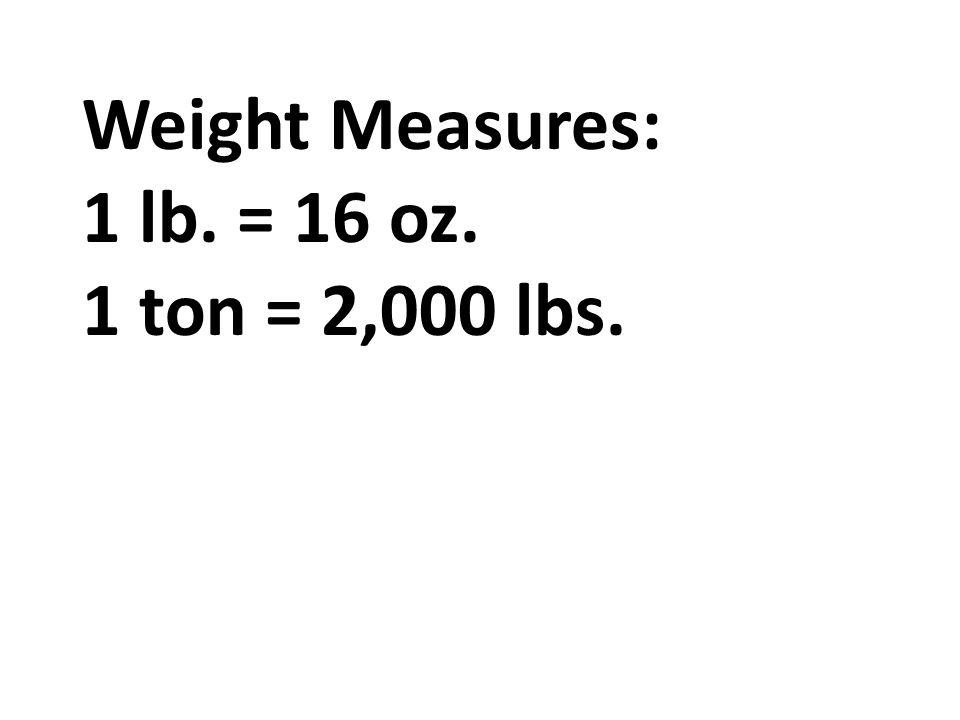 Length: 1 ft. = 12 in. 1 yd. = 3 ft. 1 mi. = 5,280 ft. 1 mi ...