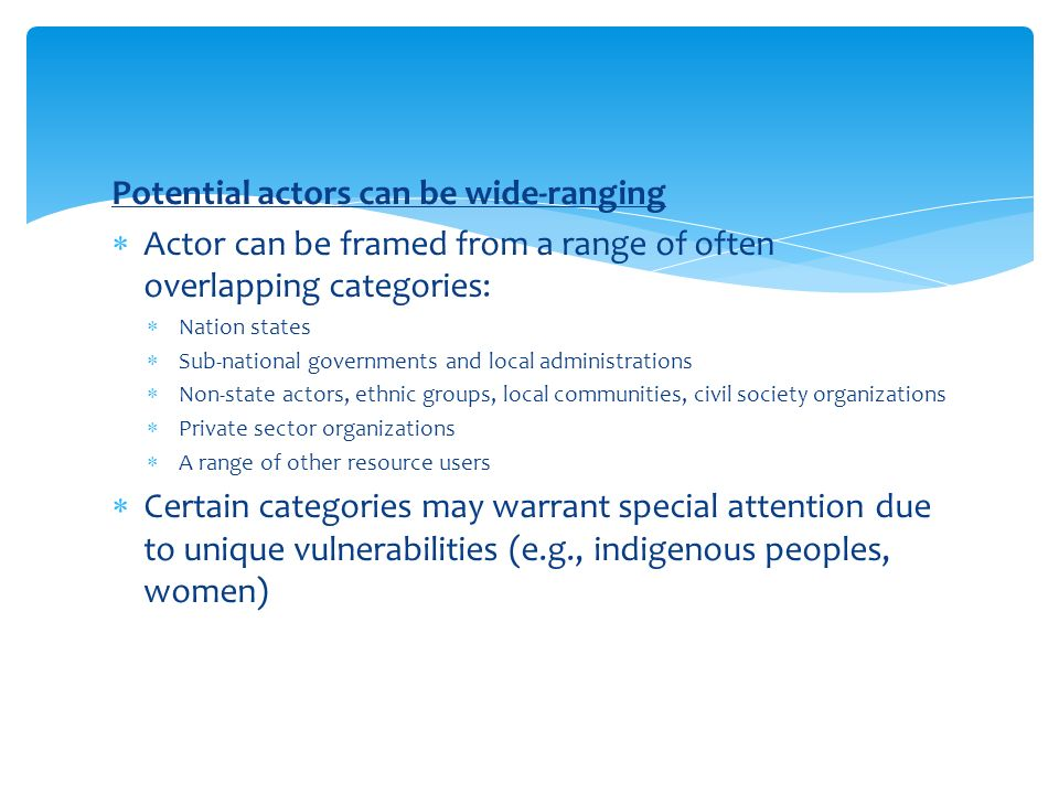 Potential actors can be wide-ranging  Actor can be framed from a range of often overlapping categories:  Nation states  Sub-national governments and local administrations  Non-state actors, ethnic groups, local communities, civil society organizations  Private sector organizations  A range of other resource users  Certain categories may warrant special attention due to unique vulnerabilities (e.g., indigenous peoples, women)