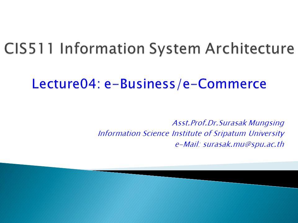 Asst.Prof.Dr.Surasak Mungsing Information Science Institute of Sripatum University e-Mail: surasak.mu@spu.ac.th