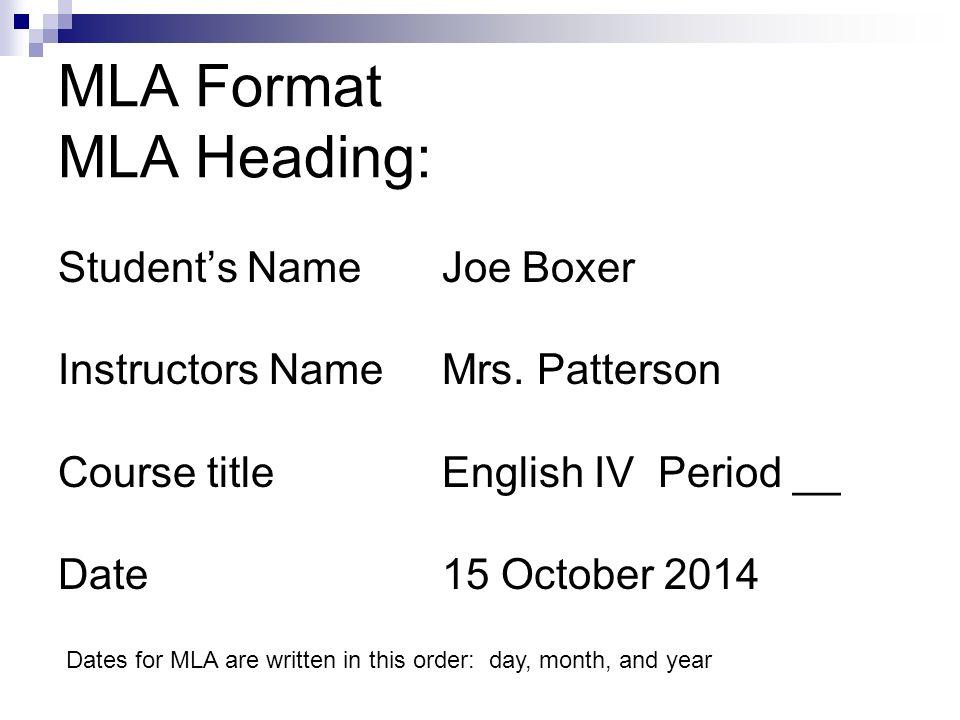 mla heading date format