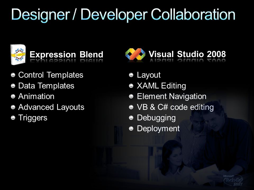 Control Templates Data Templates Animation Advanced Layouts Triggers Layout XAML Editing Element Navigation VB & C# code editing Debugging Deployment