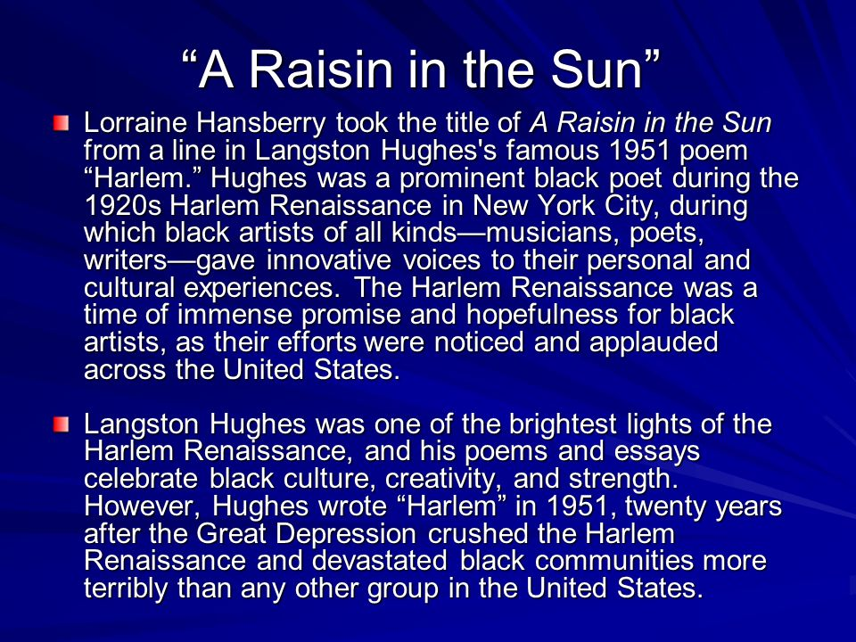 raisin and the sun essay