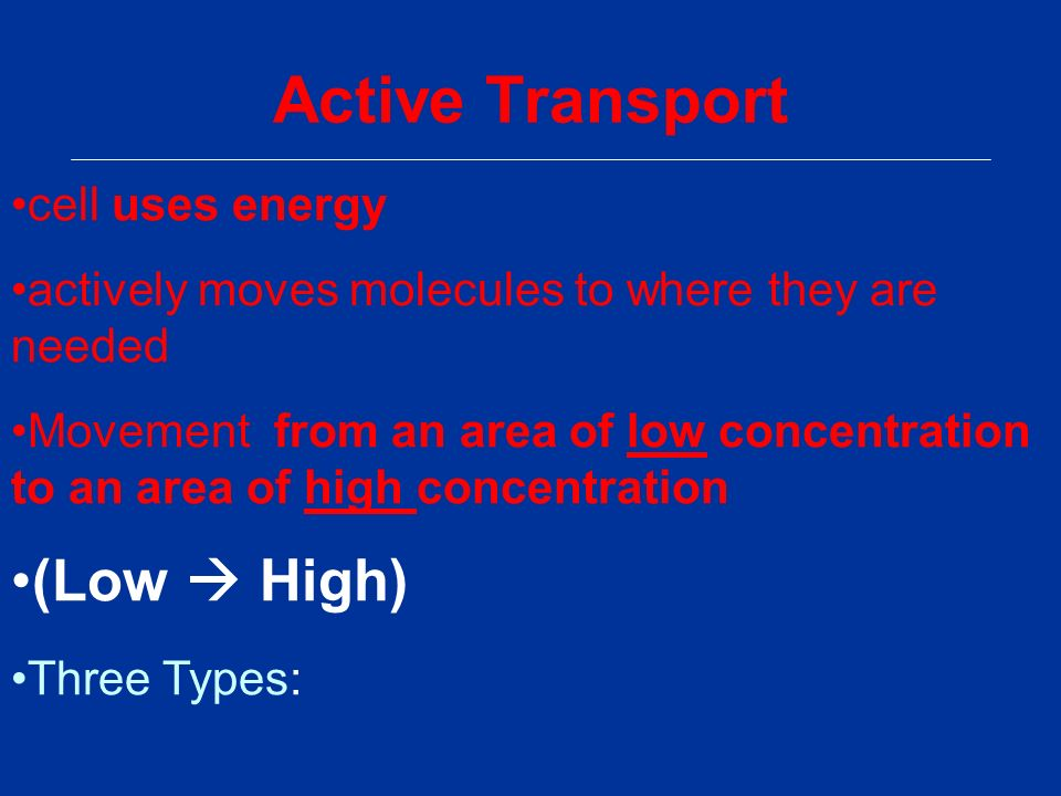 Active Transport cell uses energy actively moves molecules to where they are needed Movement from an area of low concentration to an area of high concentration (Low  High) Three Types: