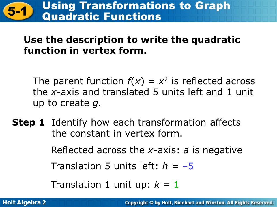 Holt Algebra Using Transformations to Graph Quadratic Functions The parent function f(x) = x 2 is reflected across the x-axis and translated 5 units left and 1 unit up to create g.