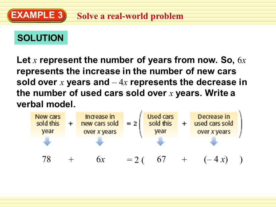 SOLUTION Solve a real-world problem EXAMPLE 3 Let x represent the number of years from now.