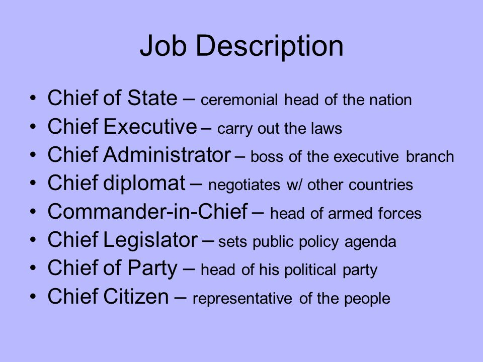 The President Executive Branch Job Description Chief Of State
