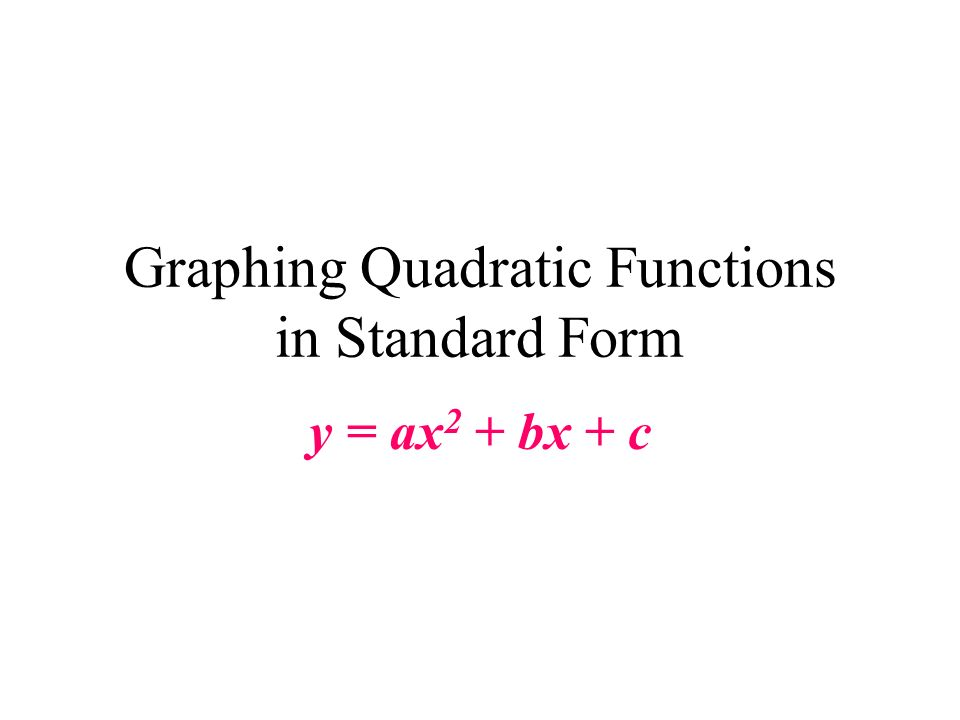 Graphing Quadratic Functions in Standard Form y = ax 2 + bx + c