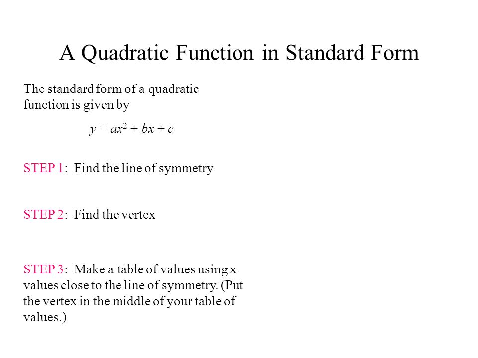 A Quadratic Function in Standard Form The standard form of a quadratic function is given by y = ax 2 + bx + c STEP 1: Find the line of symmetry STEP 2: Find the vertex STEP 3: Make a table of values using x values close to the line of symmetry.