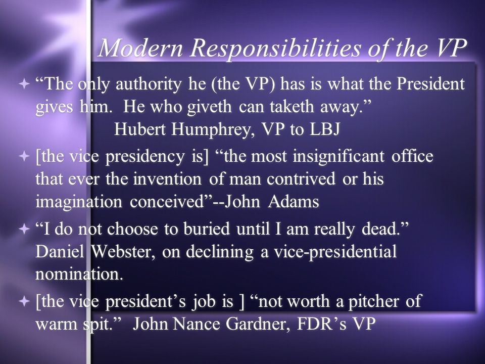 Chapter 8: The Presidency Section 1: President and Vice President ...