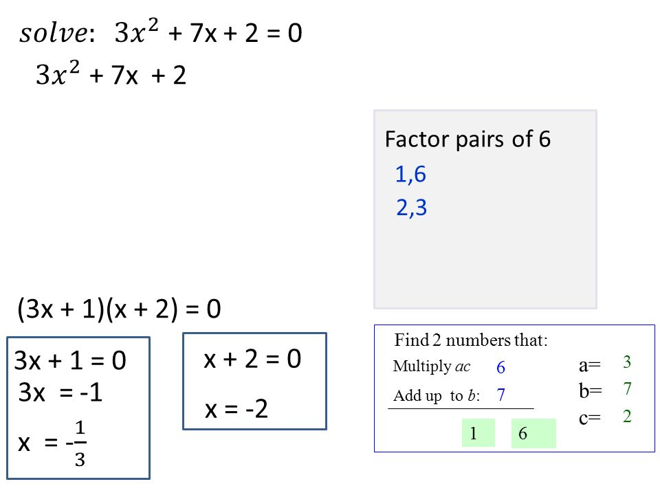 a= b= c= Find 2 numbers that: Multiply ac Add up to b: 2 Factor pairs of 6 1,6 2,3 (3x + 1)(x + 2) = 0 3x + 1 = 0 x + 2 = 0 3x = -1 x = -2