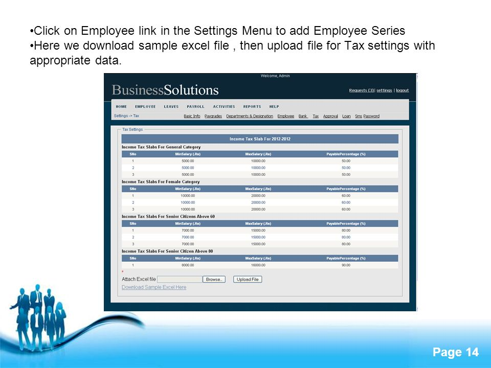 Free powerpoint templates page 1 free powerpoint templates ray 14 free powerpoint templates page 14 click on employee link in the settings menu to add employee series here we download sample excel file then upload file toneelgroepblik Image collections