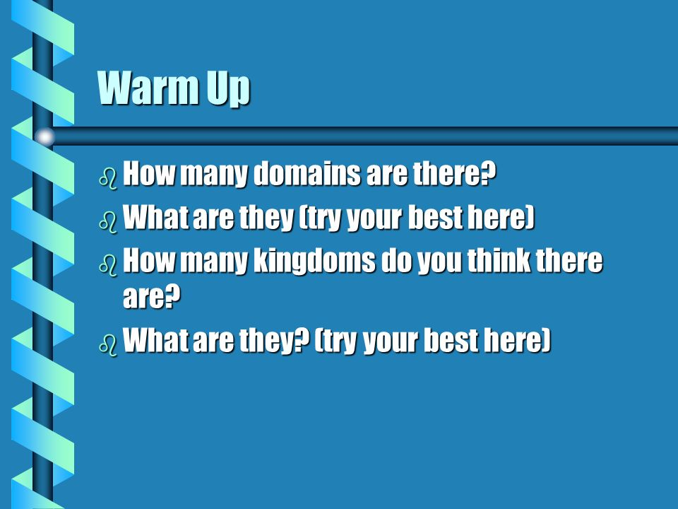 Warm Up b How many domains are there.