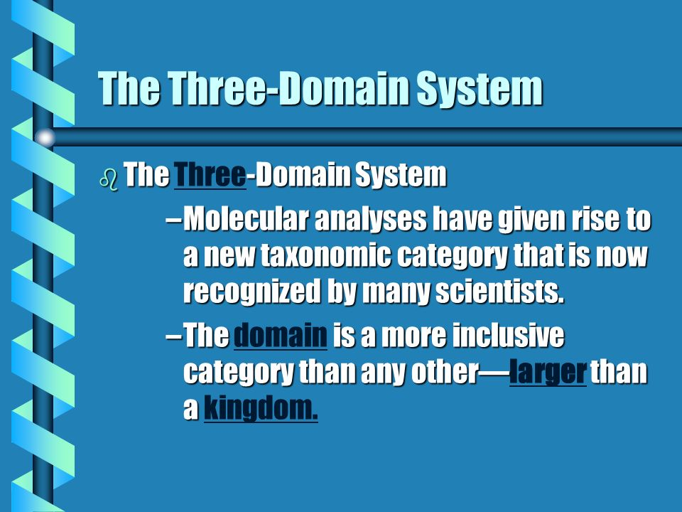 The Three-Domain System b The -Domain System b The Three-Domain System –Molecular analyses have given rise to a new taxonomic category that is now recognized by many scientists.